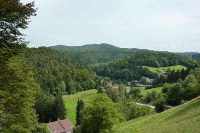 Blick beim Wandern von Ranfels in den Bayerischen Wald.