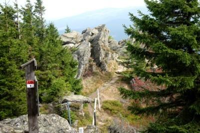 Wandern auf den Osser im Bayerischen Wald.