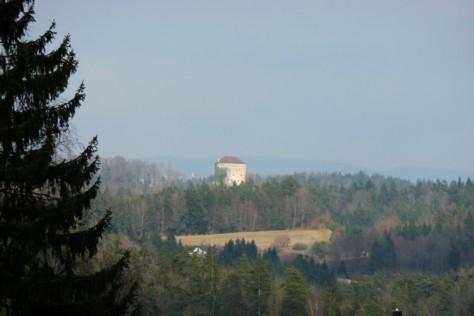 Blick auf die Saldenburg am Anfang der Tour.